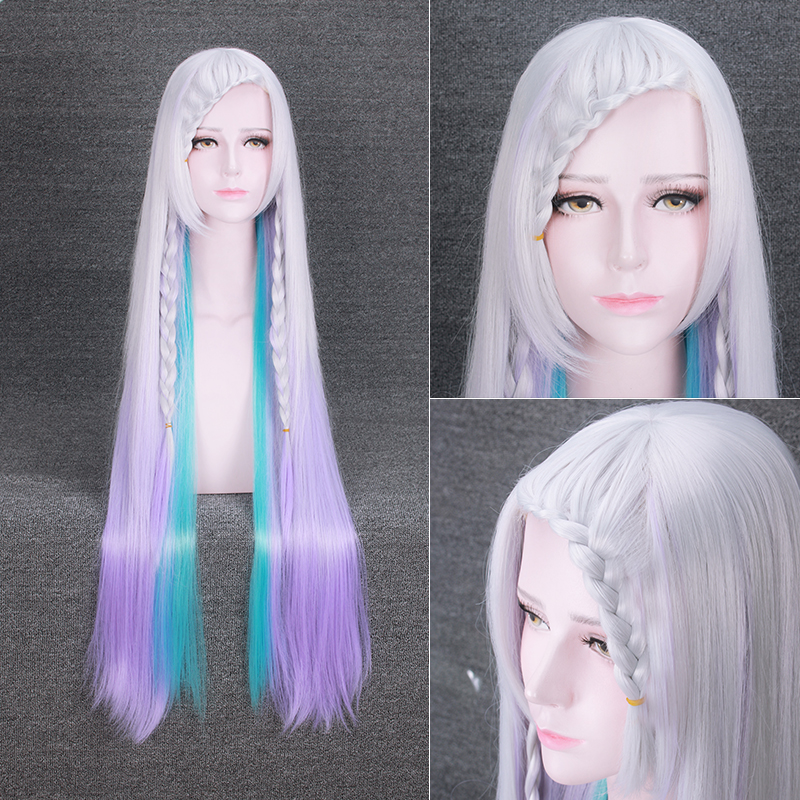 Sword Art Online Yuna Cosplay Wig Gradient Color Party Wigs Halloween Carnival Hair