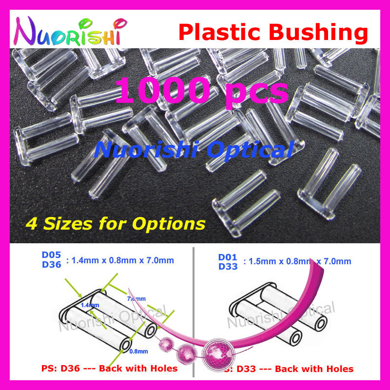 1000pcs Rimless Silhouette Glasses Accssories Plastic Double Bushing Pin Back With Or Without Holes 1.4 Or 1.5x0.8x7.0mm P4040