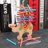 Baby Wooden Toys Montessori Building Blocks Balance Game Blue Elephant Stacked Blocks For Children Wooden Blocks Toys boys discount