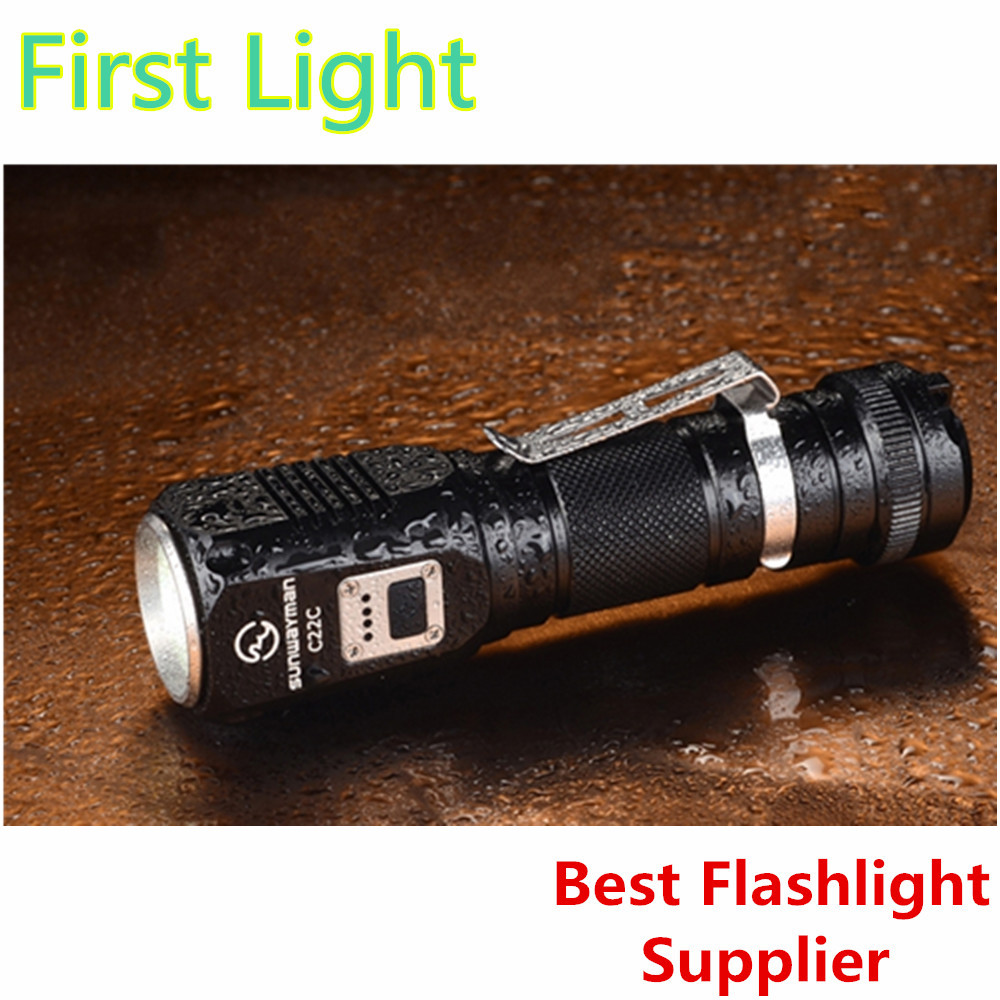 Sunwayman C22C flashlight 1000 lumens U2 LED side R5 LED night traveler IPX8 NEUTRAL WHITE torch