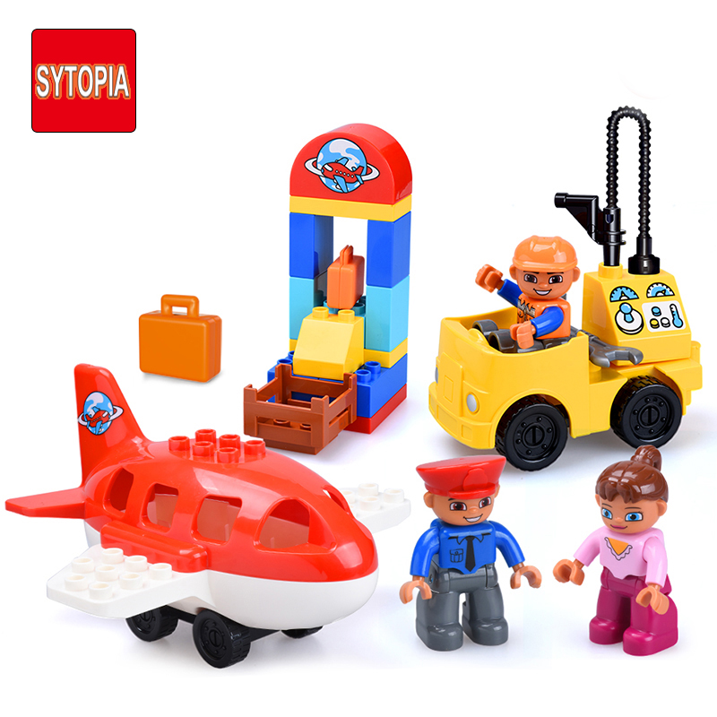 Sytopia Mini City Airport Children Building Blocks Big Size Educational Toy For Baby Kid Gift Toy Compatible With Duploe airport english books children s 3d picture series looking through look inside kid original baby school educational supplies