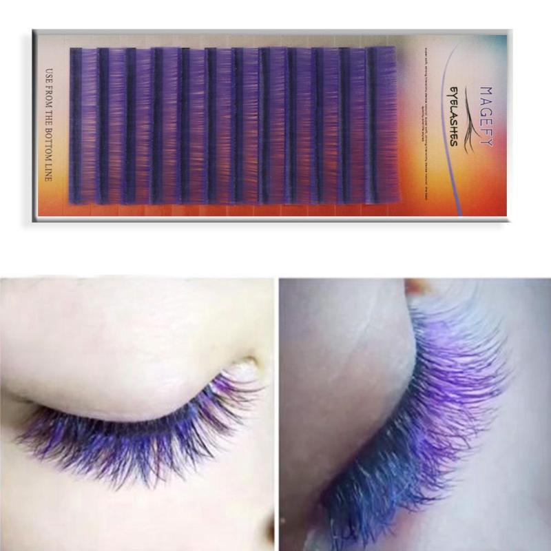 14 mm Purple False Eyelashes Sexy Exaggeration Individual Curl Handmade Hair Eye Lashes Extension Graft Woman Gift Makeup Tool