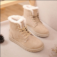 Women Brand Winter Boots Warm Suede Fashion Lace Up Flat Boots High Quality Cheap Women Snow Boots With Fur x708