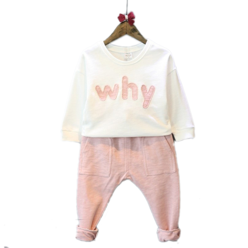 children clothing 2017 new spring girls sets top letter printed hoodies+pink color harem pants 2pcs spring kids clothes 2-7T 309767xc corsage flower printed hoodies clothing wholesale 0 8