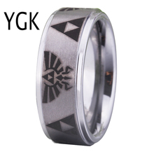 Free Shipping USA UK Canada Russia Brazil Hot Sales 8MM Satin Silver Steps Legend of Zelda New Lord Men's Tungsten Carbide Rings