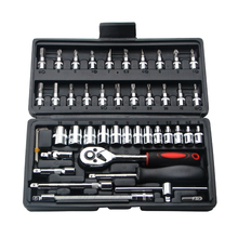 46pcs Combination Tool Set 1/4 Ratchet Wrench Socket Screwdriver Kit with Plastic Toolbox Household Car Repair Hand Tool Set недорого