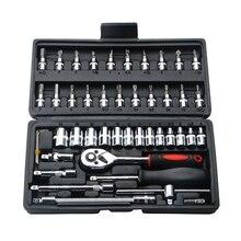 46pcs Set di strumenti combinati 1/4 Kit di cacciaviti a bussola per chiave a cricchetto con cassetta degli attrezzi in plastica Set di utensili manuali per la riparazione di auto domestiche