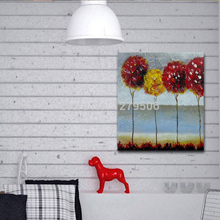100% Hand Painted Abstract red Flower Trees Oil Painting On Canvas Modern flower painting Home Decor for Living Room Wall decor