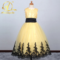 Yellow Flower Girl Dresses With Lace Edge Christmas Scoop Neck Bow Sash Back Long Kids Ball