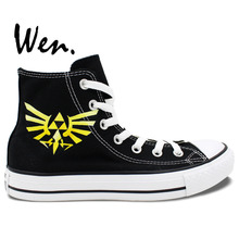 Wen Men's Black Hand Painted Shoes Custom Design Legend of Zelda Link Unisex High Top Canvas Shoes Christmas Birthday Gifts