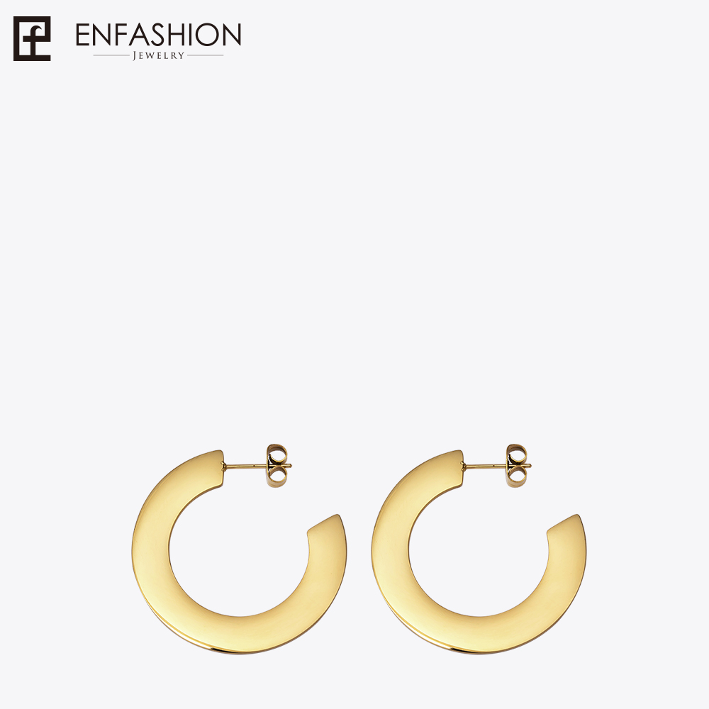Enfashion Shiny Big Hoop Earrings  Gold color Earings Stainless Steel Circle Earrings For Women Jewelry oorbellen EEF1018