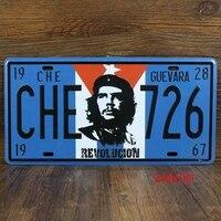 FREE SHIPPING COST - TOP HOME BAR ART # ROCK COOL -Vintage iron Antique Ernesto Guevara CAR plate BAR decor decor Auto Logos