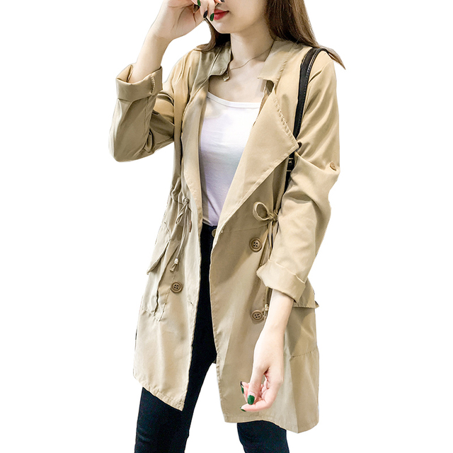 autumn women elegant long trench Double single-button coat drawstring waist thin windbreaker female loose Office coat