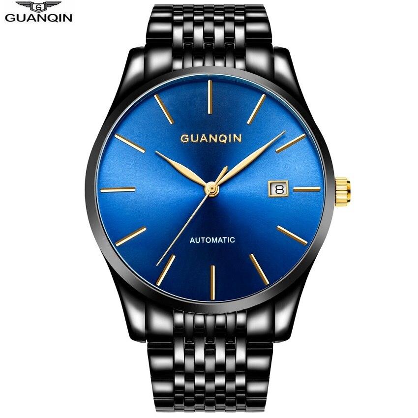 GUANQIN смотреть Для мужчин лучший бренд класса люкс Автоматическая Механическая золотистый и черный синий часы Дата Водонепроницаемый мужск...