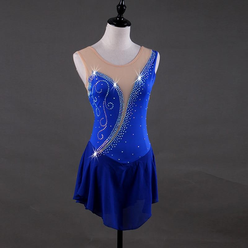 Royal blue Figure Skating Dress Customized Competition Ice Skating Skirt for Girl Women Kids Patinaje Gymnastics