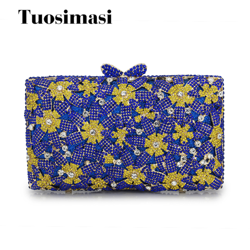 2017 New fashion box bag Women handbag femme flower evening bag luxury Diamond day Clutch bling party purse(88128A-BG) брюки tom tailor цвет голубой
