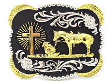 Christan Cowboy A Horse Cross Western Belt Buckle Silver With Gold