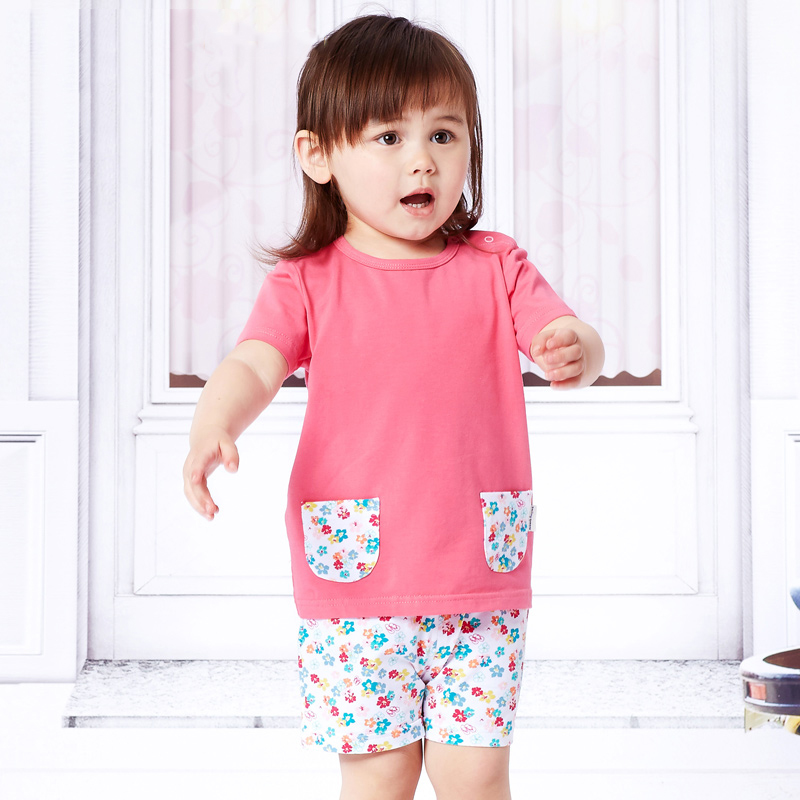 2017 New Summer Girls Clothing Sets Girl Baby Striped T-shirts Flowers Shorts 2 Piece Set Baby Clothes Set 2 3 4 Years Old