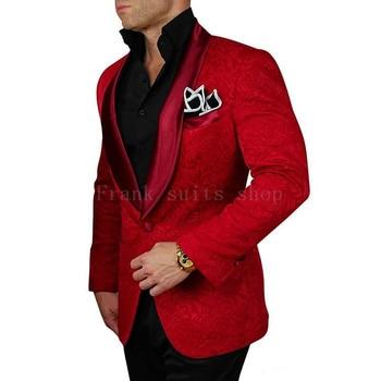 2018 New Style Red Jacquard Black Pants Groom Tuxedos Shawl Lapel Men Suits Wedding Best Man suits ( jacket+Pants)