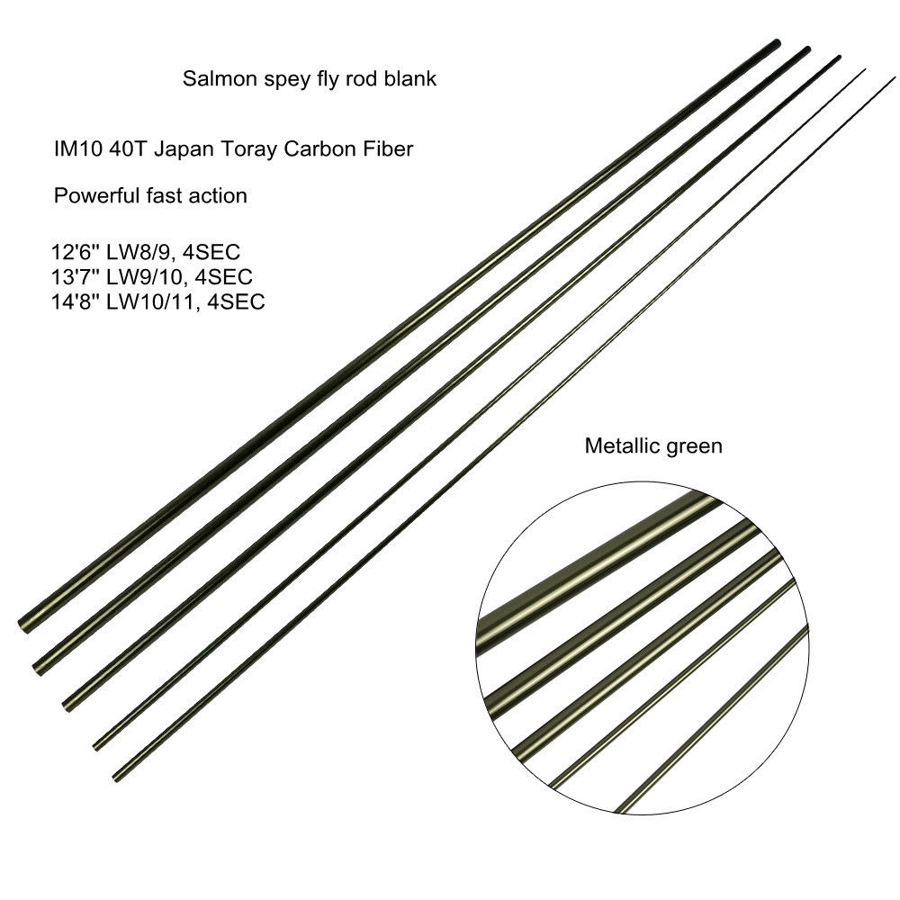 Aventik 12'6'' 13'7'' 14'8'' IM10 Salmon Fly Fishing Rod Blanks Fast Action Spey Fly Rod Blank With Extra Spare Tips Fast Action aventik 11 3 lw7 im12 nano carbon fiber switch fly fishing rod blanks 4 sections fast action fly rods blank metallic green