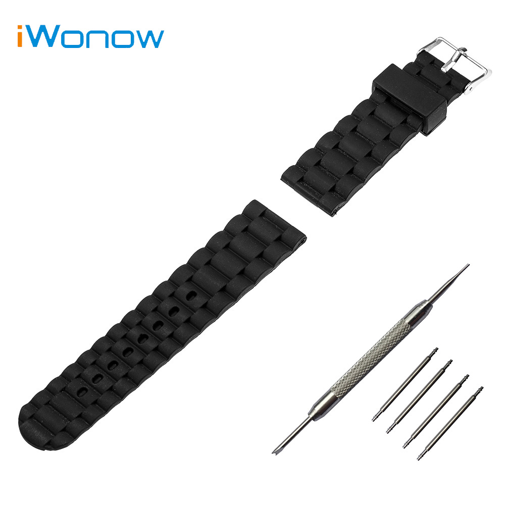все цены на  Silicone Rubber Watch Band 24mm for Sony Smartwatch 2 SW2 Stainless Steel Pin Buckle Strap Wrist Belt Bracelet + Spring Bar  онлайн