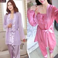 3 Piece China Satin Silky Pajamas Sets,Lace Crochet Bow Design Emobroidery Floral Sexy Camis + Robe + Pant,Pyjama Silk Bathrobe
