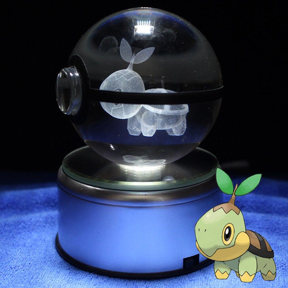 Turtwig Pokeball Crystal Ball Desktop Decoration Light Glass Ball LED Base Lamp Gift