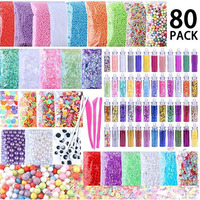 80 Pack Foam Beads for DIY Slime With Glitter Tube Fishbowl Beads Pearl Beads Slime Making Kit For Home and School Crafts Toys
