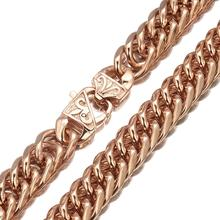 Top Quality Stainless Steel Rose Gold Necklace Fashion Men women Cuban Curb Link Chain Jewelry 16mm Widths