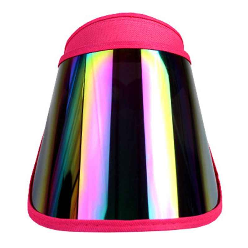 المرأة الصيف فارغة أعلى قبعة للوقاية من الشمس قوس قزح لوح بلاستيكي الأشعة فوق البنفسجية حماية قابل للتعديل زاوية كبيرة واسعة حافة دراجة نارية شاطئ كاب