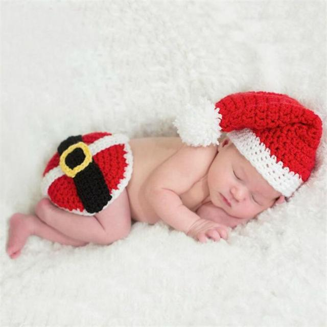 one hundred days baby christmas hat suit newborn photography props infant wool knitting clothing set baby