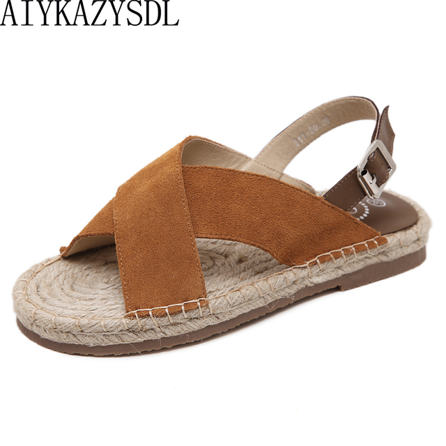 cfc528f56 AIYKAZYSDL 2018 Women Sandal Corss Strap Cane Hemp Straw Espadrilles Open  Toe Back Strap Silngback Thick Sole Bottom Flat Shoes