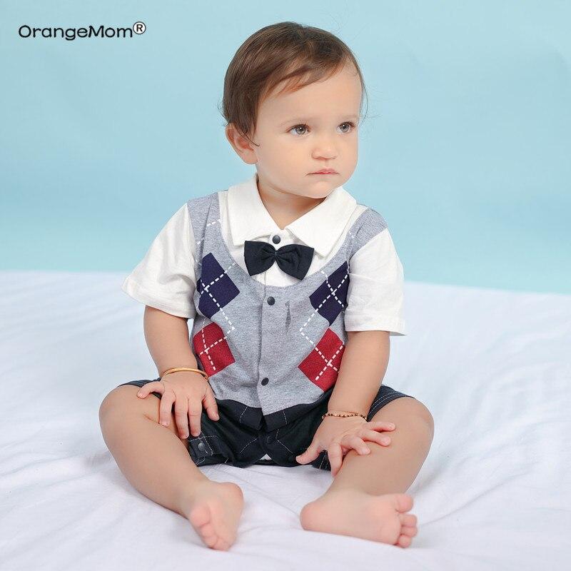 2019 summer baby boy   romper   gentleman jumpsuits newborn infant boy clothing cheap Import Baby Clothes cotton grandma gift