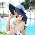 НОВАЯ Мода Лето Вс Шляпы для Женщин Приморский Солнцезащитный Козырек Hat большой Шляпе Лук Соломы Складной Пляж Hat Chapeau Femme Gorras 3101