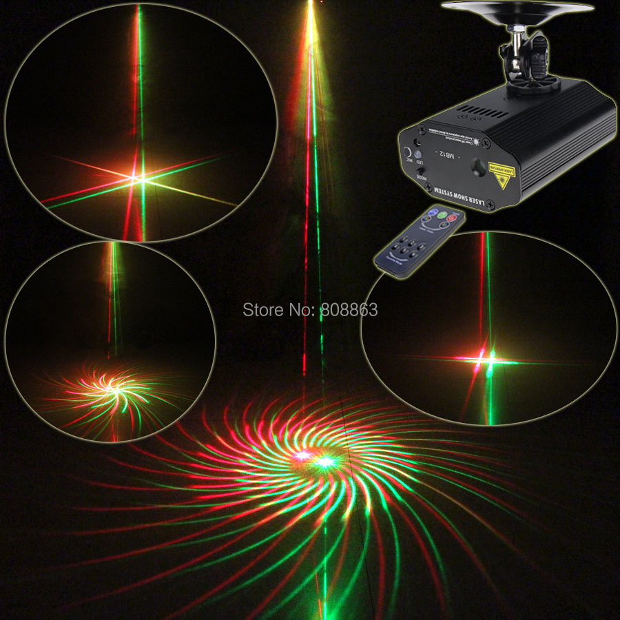 New High Quality Mini R&G Laser 12 Patterns Projector Dance Disco Bar Family Party Stage Lights DJ Xmas lighting Light Show T11