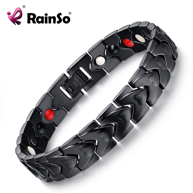 Rainso Black Stainless Steel Magnetic Bracelet with 4 Health Elements Bio Energy Man Bracelet for Arthritis