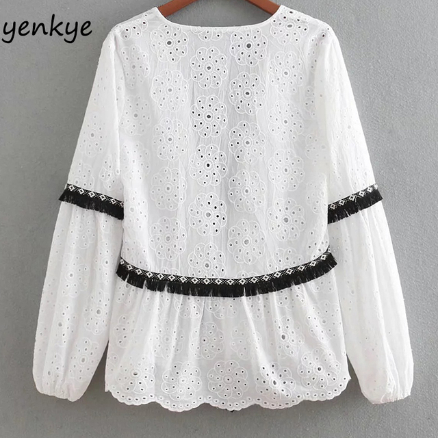 Women Contrasting Cutwork Embroidery Jacket Lady Long Sleeve Fringed Trims White Summer Jackets Tasselled String Thin Outerwear 1