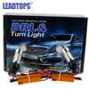 LEADTOPS LED DRL Turn Signal Light T20 +1156 Car Auto Front Side Turn Signal + DRL Daytime Running Lights Bulbs For Honda Bmw DJ