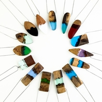 Wood Necklaces Pendants Resin Geometric Statement Necklace Women Men Collier Femme Vintage Maxi Colar Gift Handmade