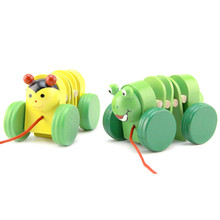 10CM Cute New Popular Cartoon Wooden Caterpillar Toys Animals Toy Carts Animal Model  For Baby Children Gifts