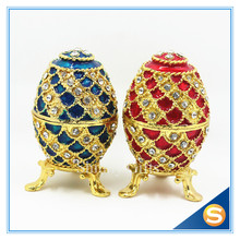 Diamond Faberge Egg Jewelry Box Bejeweled Trinket Box Ring Collective Box Metal Gift Box