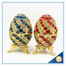 Diamond Faberge Egg Jewelry Box Bejeweled Trinket Box Ring Collective Box Metal Gift Box