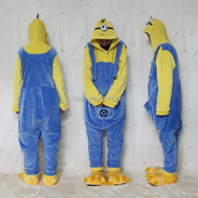 Single Eye Minion Onesie Costume Adult Pajamas Jumpsuit Hoodies Adults Cosplay Kigurumi Costumes for Halloween and Carnival