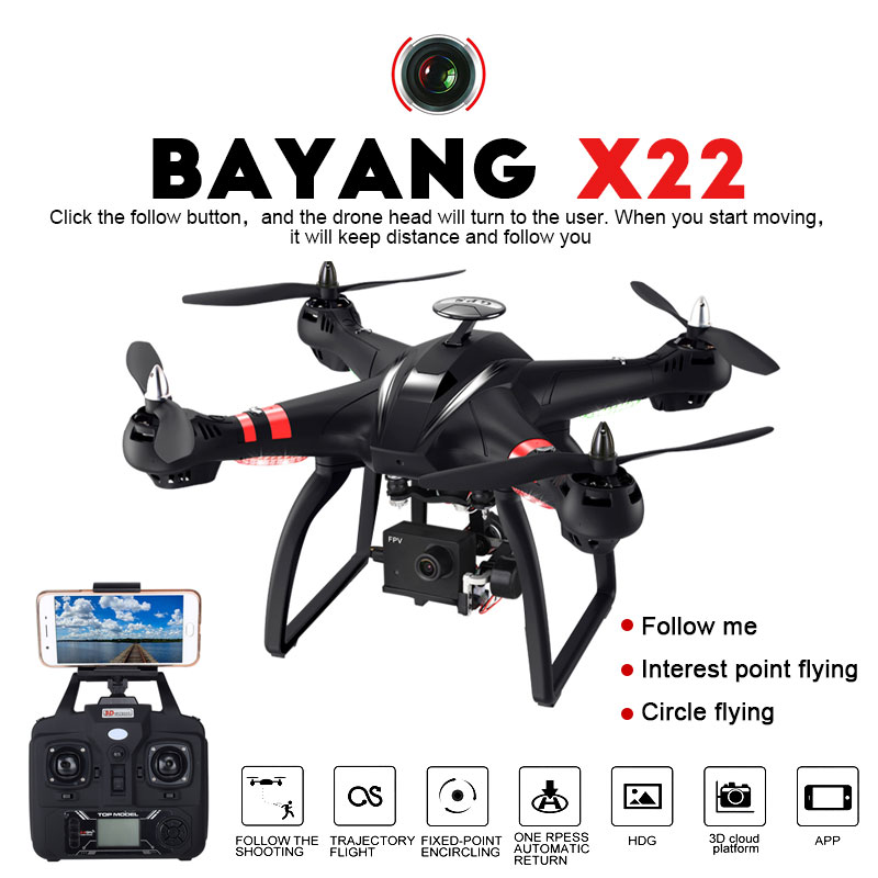 Professionnel Drone BAYANGTOYS X21 X22 Brushless Double GPS WIFI FPV Quadcopter Avec 1080 p HD Caméra 3D Axe Réglable Cardan