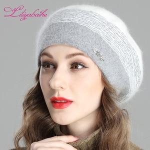 Image 2 - Liliyabaihe สไตล์ใหม่ผู้หญิงฤดูหนาว Berets Angora ถัก Beret ตกแต่ง Handmade Melange ถักหมวกคู่หมวก