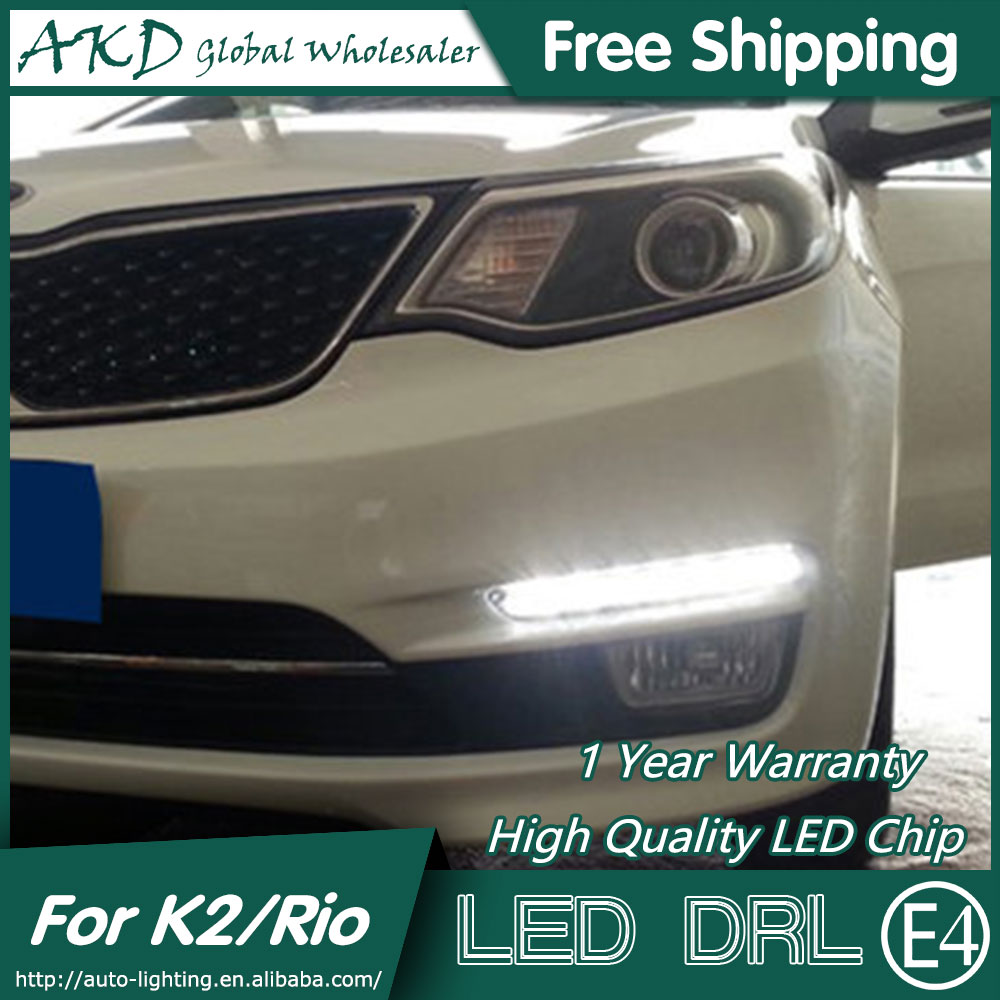 AKD Car Styling for Kia K2 Rio LED DRL 2014-2015 LED Signal LED Running Light Fog Light Parking Accessories