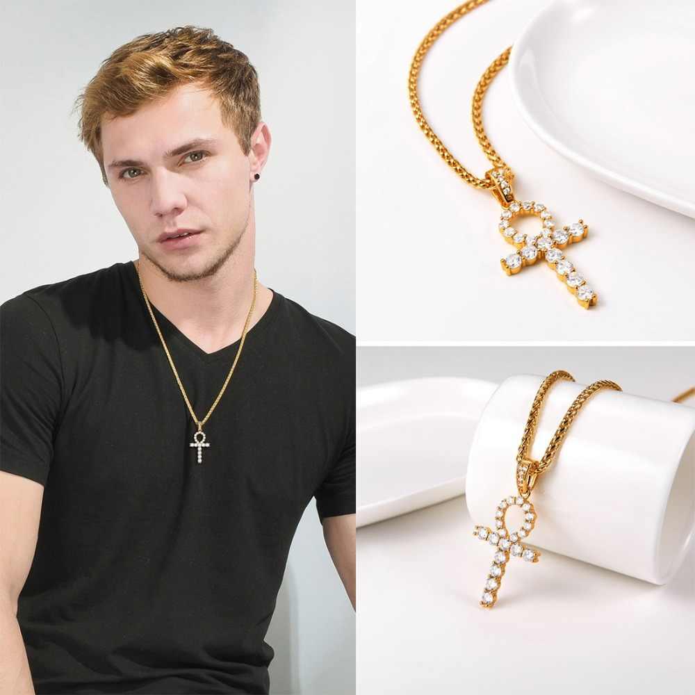 U7 Ice Out Ankh krzyż wisiorek złoty kolor łańcucha Hip Hop Bling CZ kamień egipski wisiorek naszyjnik dla kobiet mężczyzn biżuteria prezent P1201