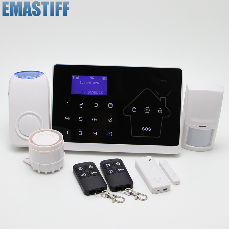 IOS Android APP Touch Keypad+LCD display screen 10 Wireless GSM PSTN SMS Home Security Burglar House Alarm