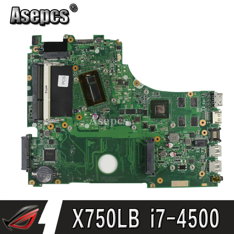 <font><b>X750LB</b></font> laptop motherboard For <font><b>ASUS</b></font> <font><b>X750LB</b></font> X750LN X750L K750L A750L mainboard motherboard test 100% ok I7-4500 CPU GT740M/2GB image