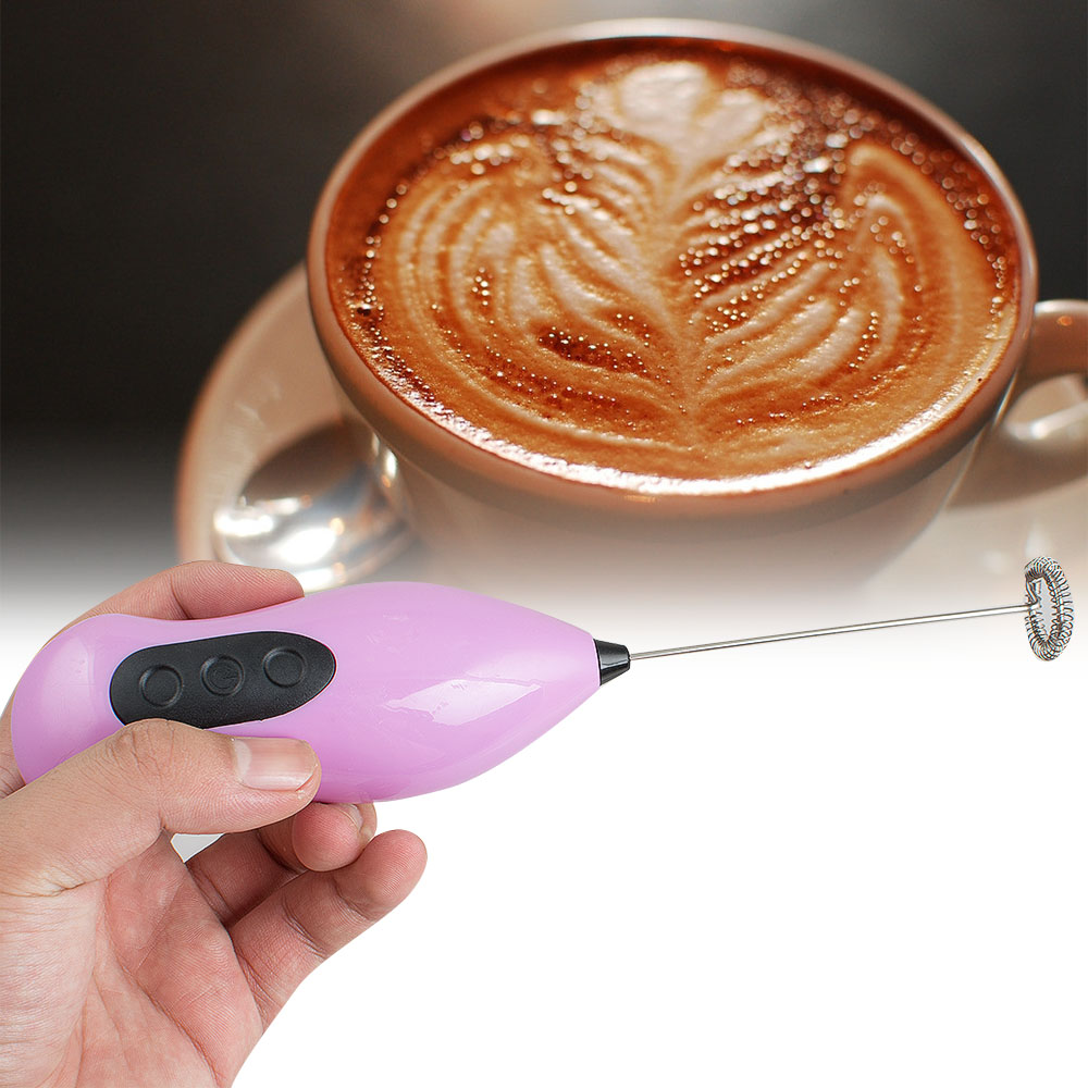 Mini Handheld Electric Coffee Stirring Milk Frother Whisk Mixer Stirrer Stainless Steel Egg Beater
